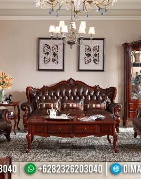 New Design Sofa Tamu Jati Mewah Natural Set 3 2 1 Meja BT-0382