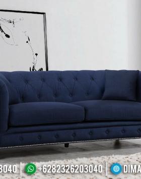 New Sofa Tamu Minimalis Chester 3 Seater Blue Navy Mebel Jepara BT-0437