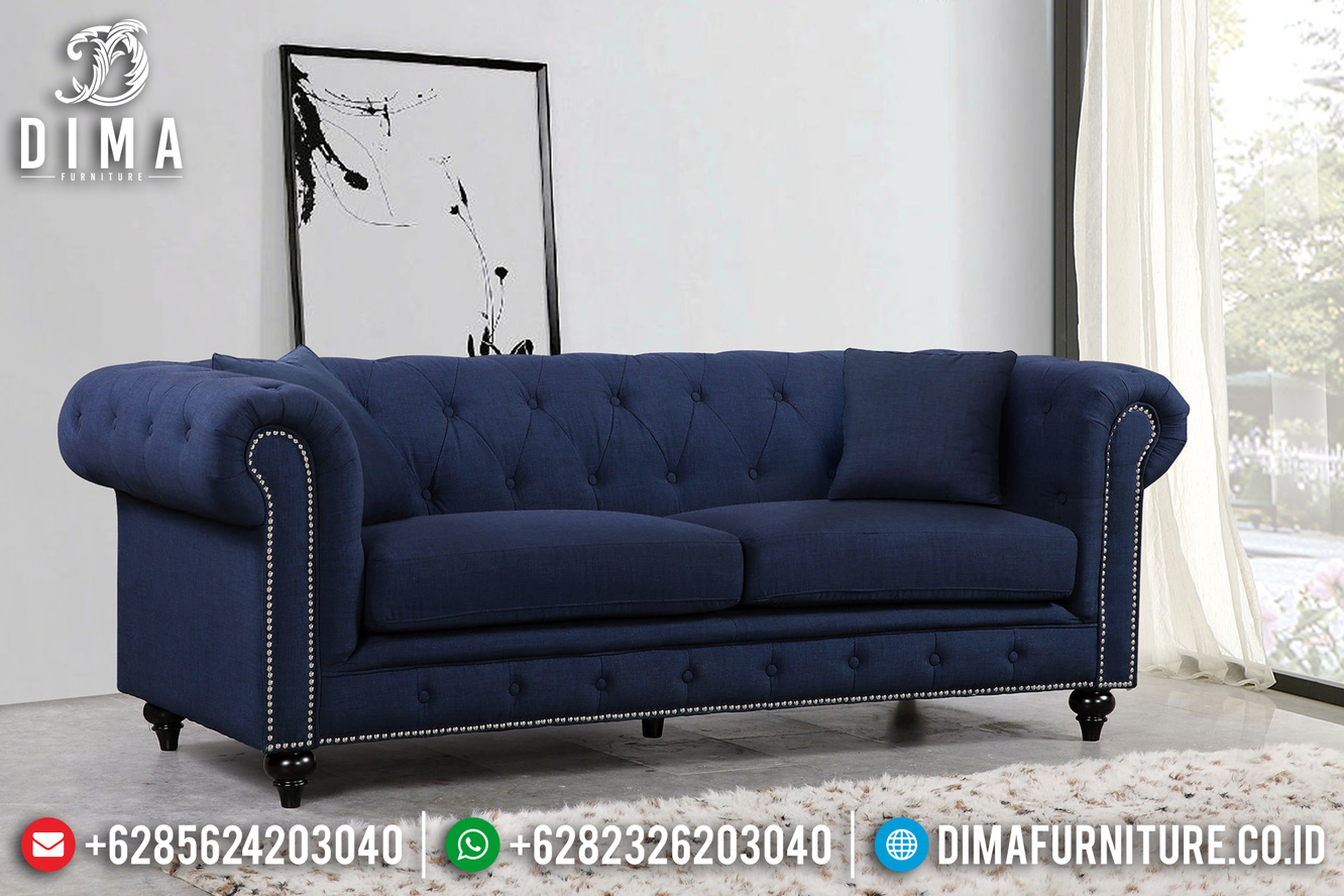 New Sofa Tamu Minimalis Chester 3 Seater Blue Navy Mebel Jepara BT-0437
