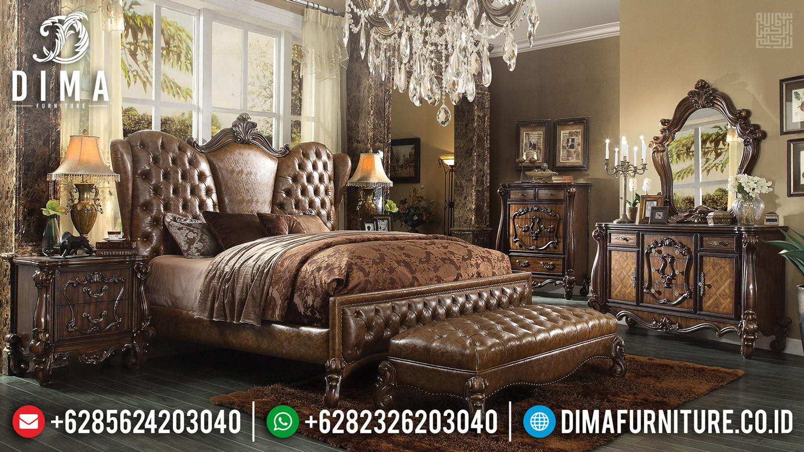 Desain Kamar Set Mewah Jati Queen Size Natural Kombinasi BT-0522