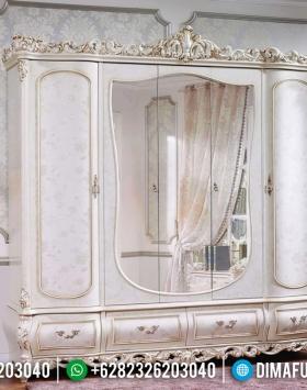 Desain Lemari Pakaian Cermin Mewah Mahkota Ukir Classic Jepara BT-0510