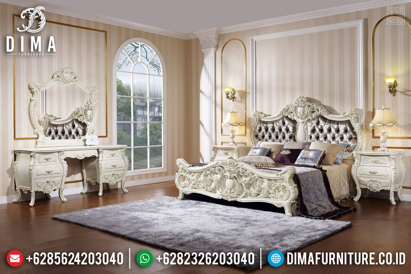 Furniture Jepara Kamar Set Klasik Putih Duco Luxury Carving Baroque BT-0506