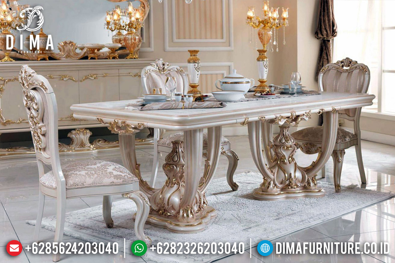 Gambar Meja Makan Mewah Ukiran Classic Luxury Jepara Terbaru BT-0527