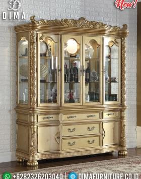 Harga Lemari Hias Kaca Mewah New Luxury Carving Golden Gloss BT-0581