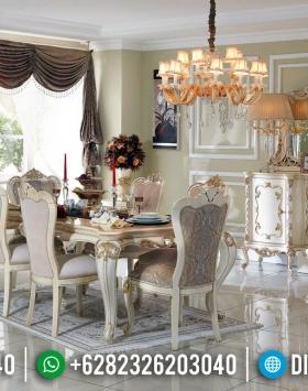Harga Meja Makan Mewah Putih Duco Luxury Carving Jepara BT-0497