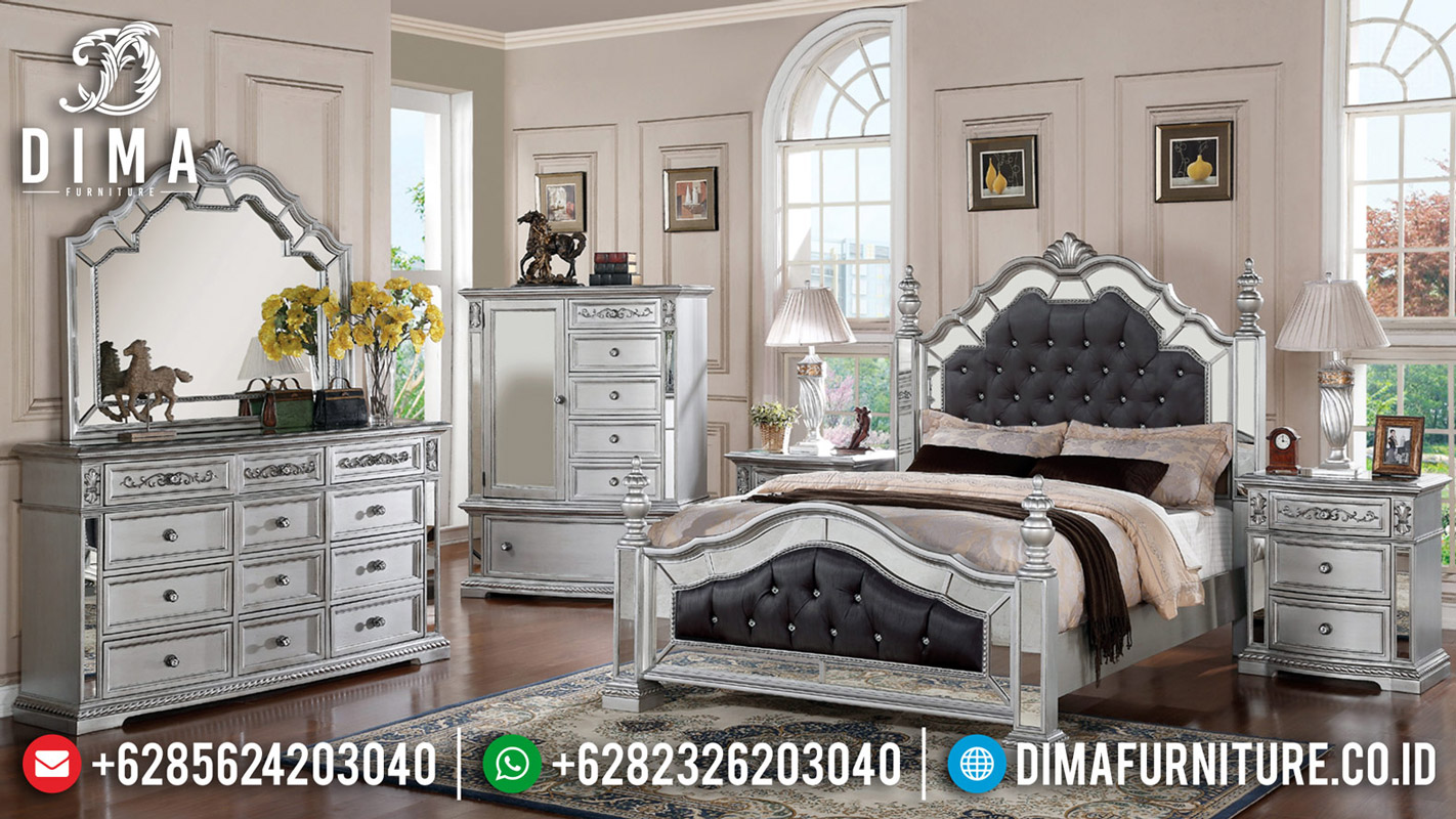 Kamar Set Mewah Modern Silver Duco Combine Glass Luxury BT-0523