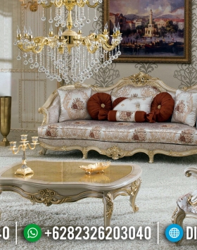 Luxury Sofa Tamu Mewah Jepara Golden Carving White Duco Glossy BT-0439