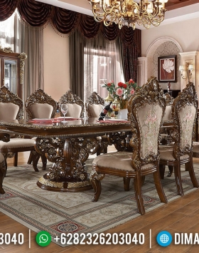 Meja Makan Jati Classic Empire Style Natural Kombinasi Golden Carved BT-0550