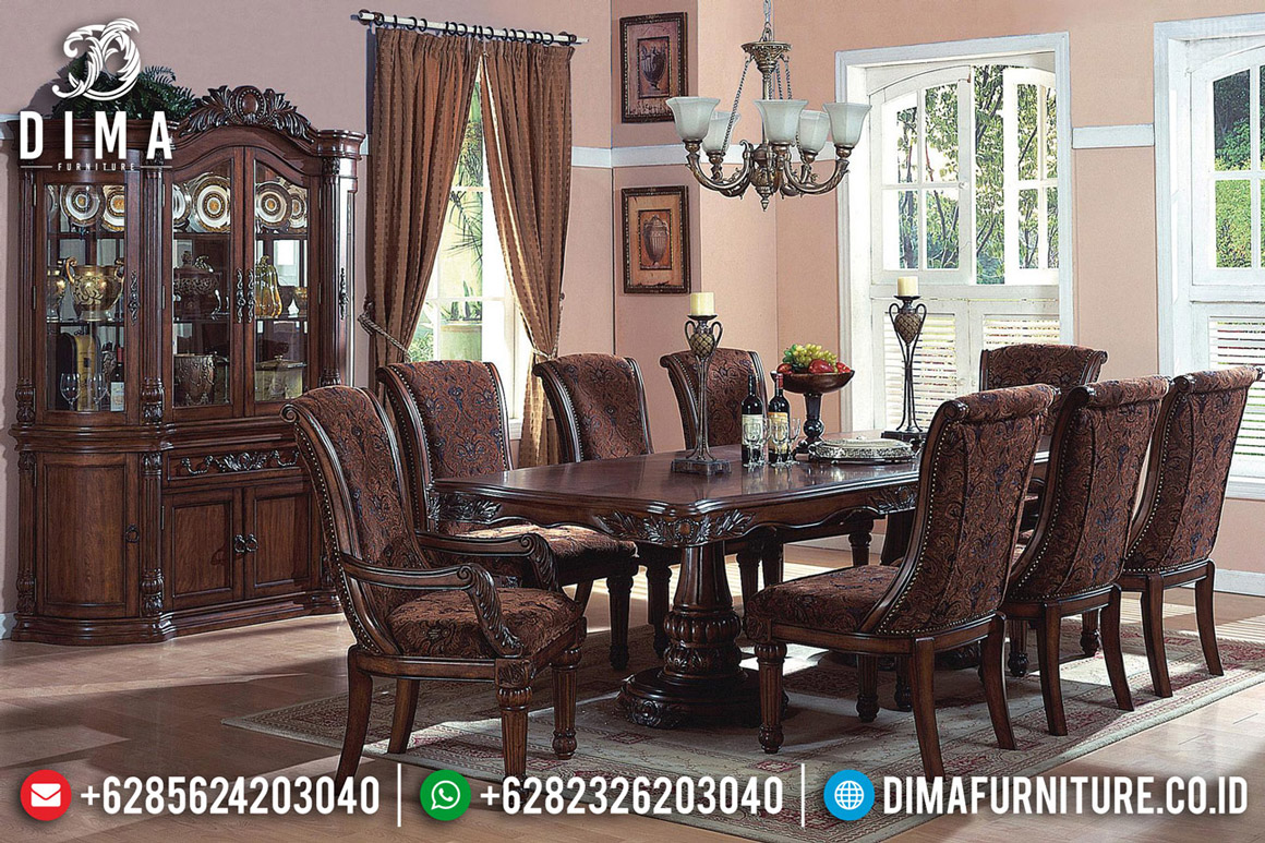 Meja Makan Mewah Jati Natural Dark Brown Furniture Jepara Classic BT-0487
