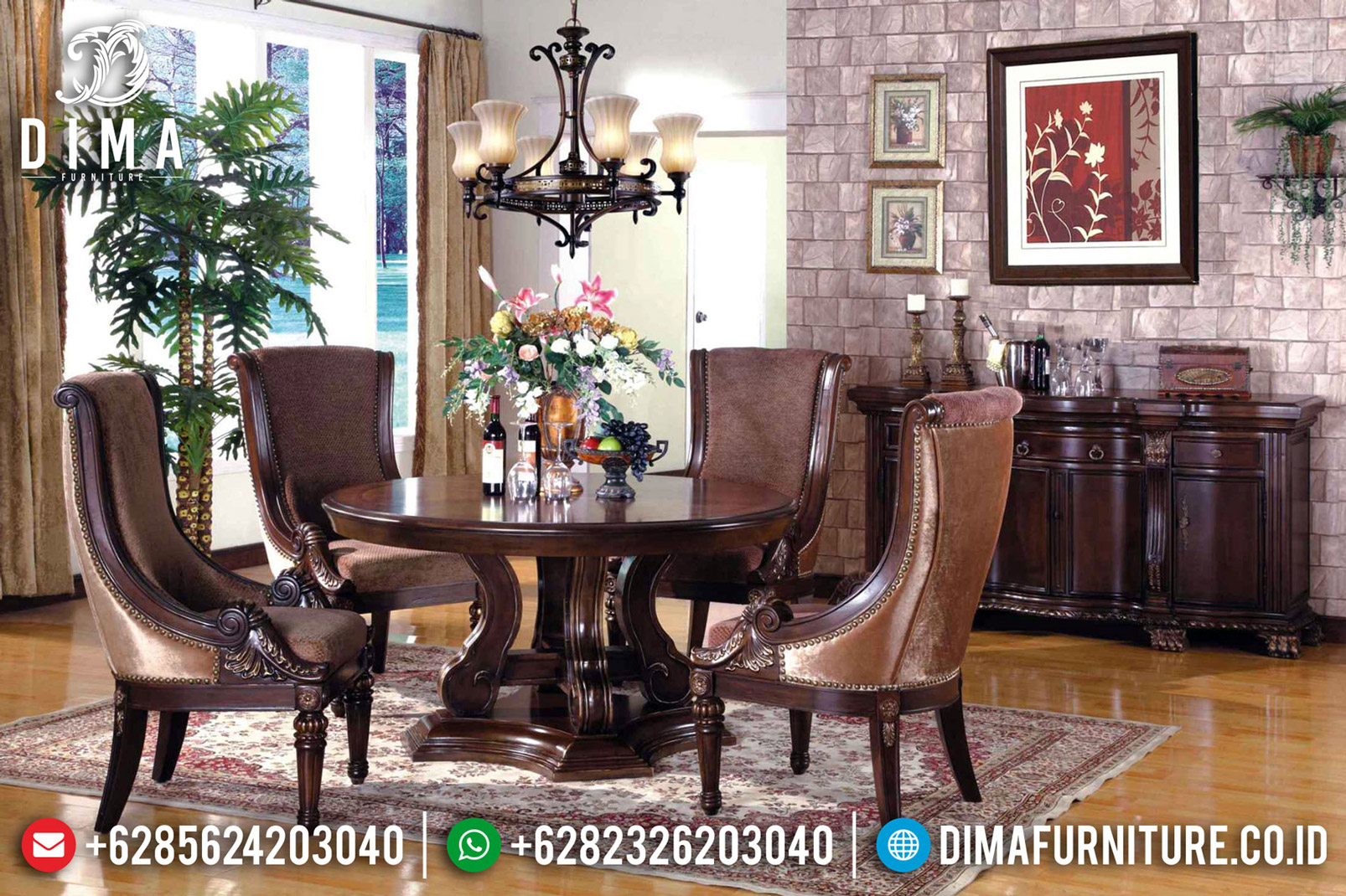 Meja Makan Mewah Victorian Kings Classic Natural Jati Jepara BT-0494