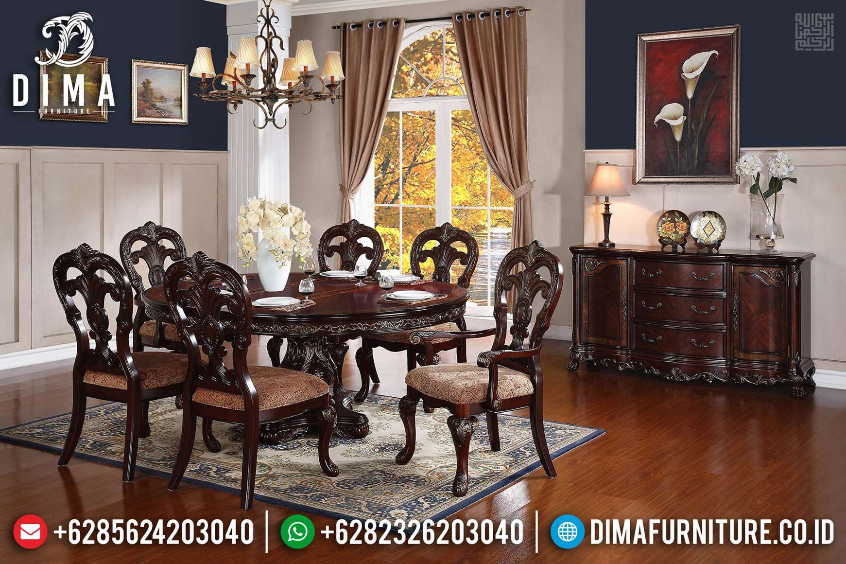 Natural Desain Meja Makan Bundar Klasik Jati Rose Wood Color BT-0548
