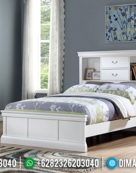 New Model Tempat Tidur Modern Minimalis Jepara Putih Duco BT-0566