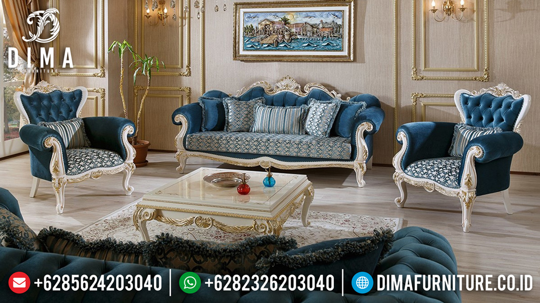 Sofa Tamu Jepara Model Terbaru Luxury Carving White Duco BT-0514