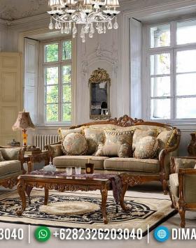 Best Seller Sofa Tamu Klasik Luxury Carving Natural Kayu Jati Perhutani BT-0640
