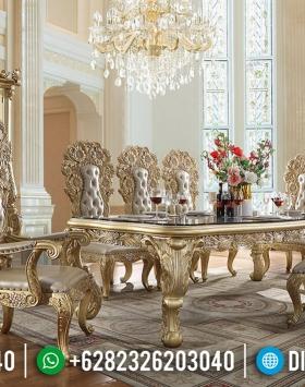 Jual Meja Makan Mewah Ukiran Jepara Golden Glow Duco Color Luxury Classic BT-0618