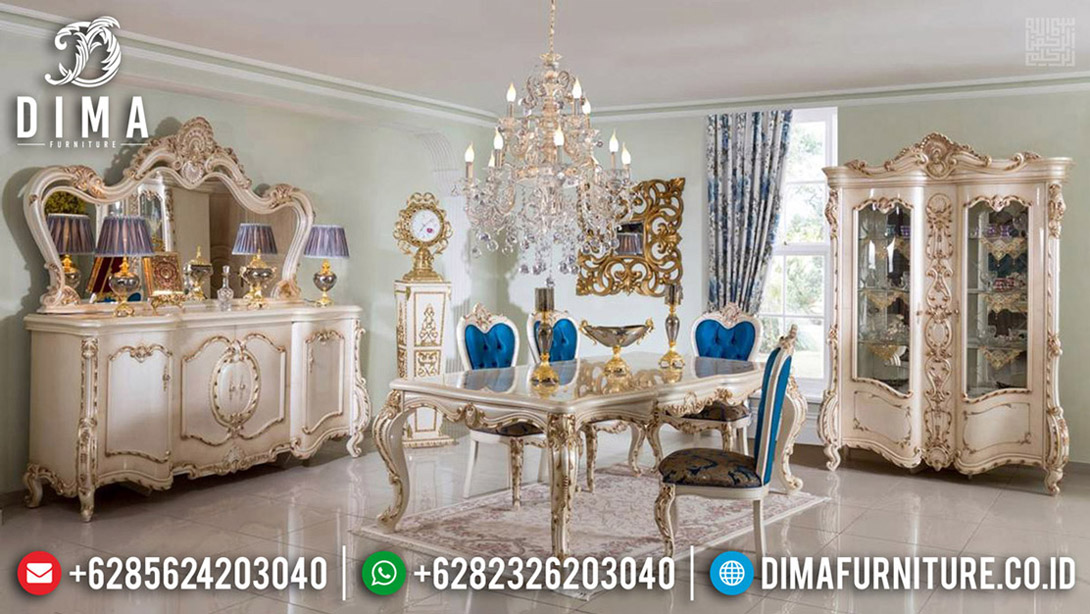 Meja Makan Mewah, Set Kursi Makan Ukiran, Dining Table Luxury Classic BT-0594