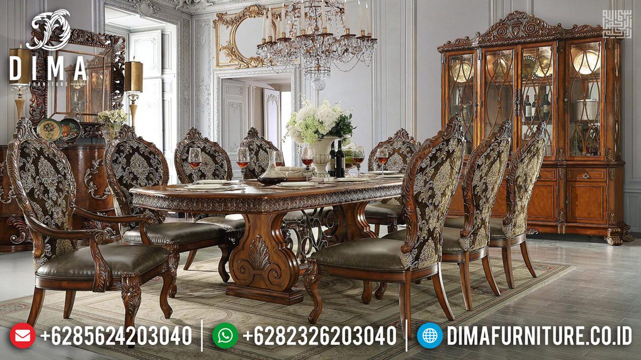 Meja Makan Ukiran Mewah Kayu Jati Natural Salak Brown Classic Elegant Style BT-0615