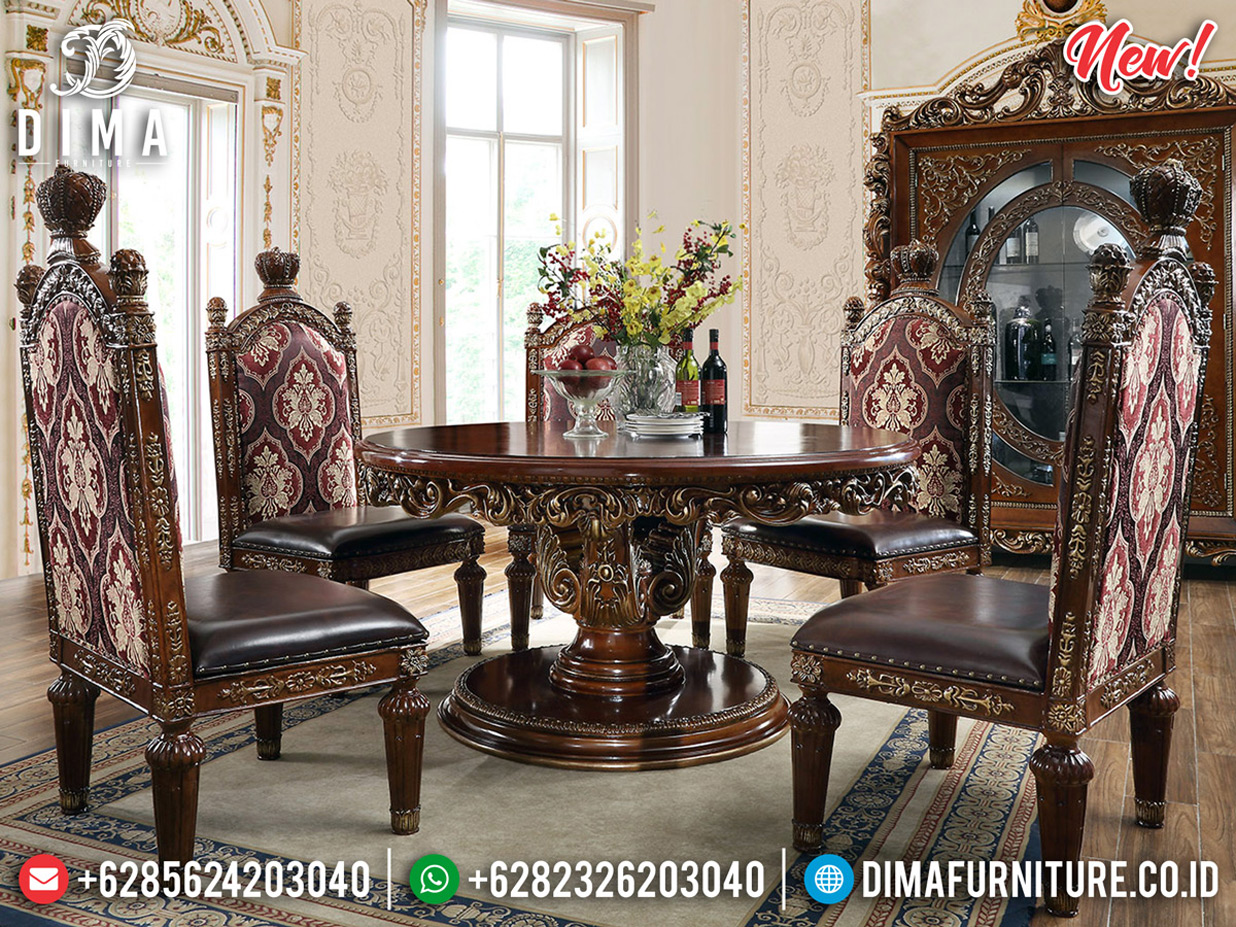 Model Set Meja Makan Bundar Ukiran Klasik Elegant Luxury Furniture BT-0613