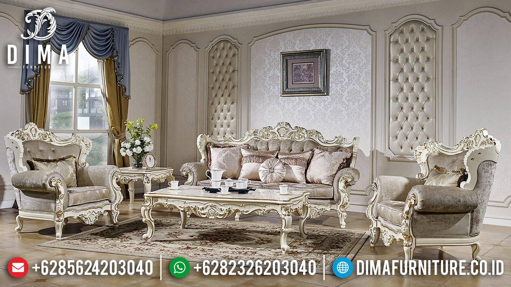 New Model Set Sofa Tamu Mewah Golden Relief Design Interior Luxury Inspiration BT-0628