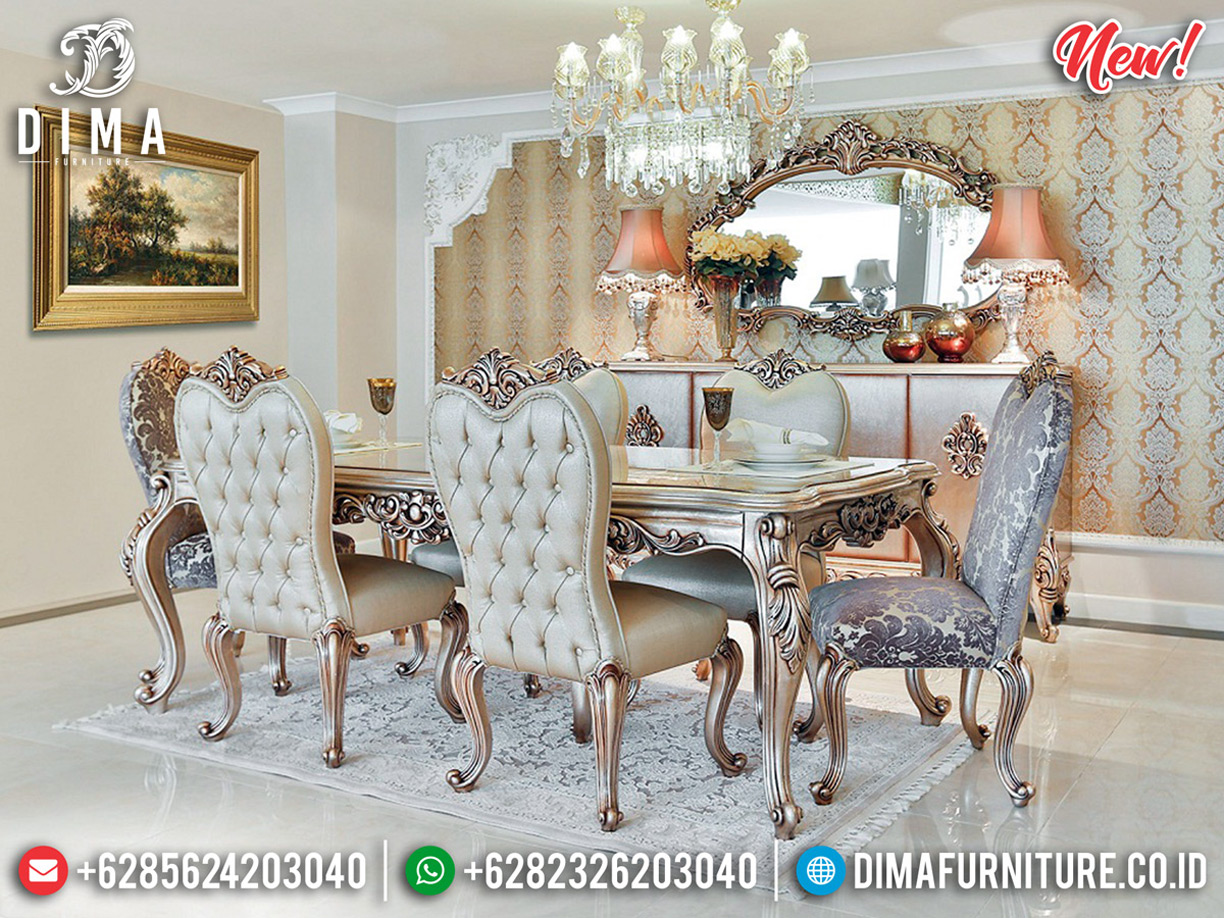 New Set Meja Makan Mewah Jepara Luxury Carving New Empire Style Artistik BT-0611
