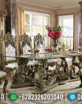 Set Kursi Meja Makan Mewah Luxury Carving Jepara Golden Shadow Combination BT-0616