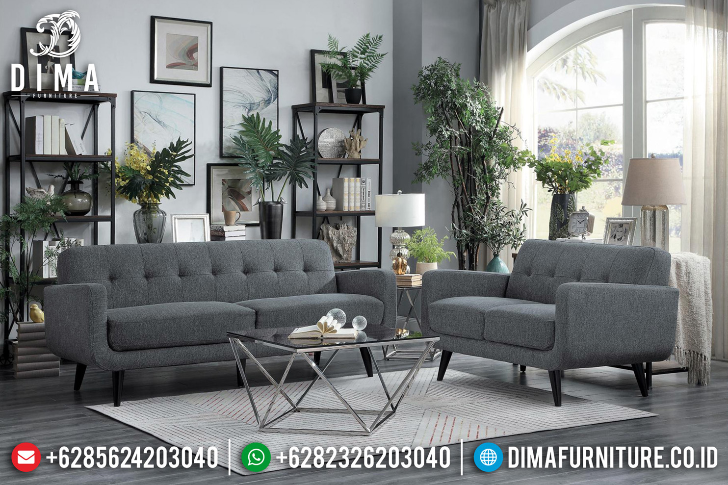 Set Sofa Tamu Minimalis Modern Jepara Kayu Jati Perhutani Cat Natural Brown BT-0618