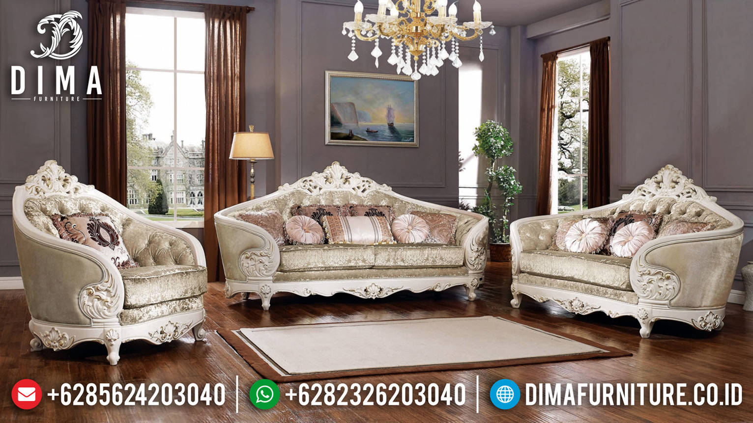 Furniture Jepara Sofa Tamu Davinci Luxury Classic White Duco Glossy Jepara BT-0656