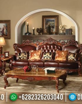 Set Sofa Tamu Jati Mewah Jepara Ukiran Natural Klasik Luxury Elegant Terbaru BT-0643