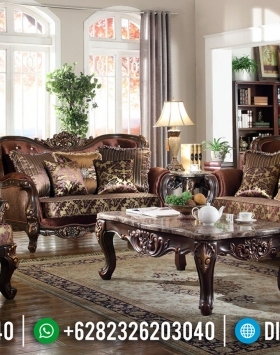 Sofa Tamu Mewah Jati Klasik Antique Natural Kombinasi Luxury Carving Jepara BT-0646