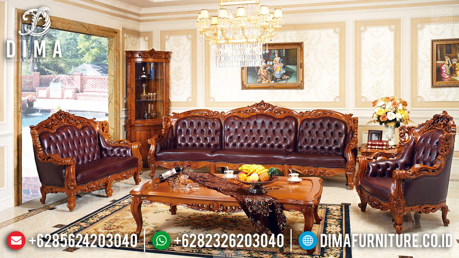 Sofa Tamu Mewah Klasik Jati Natural Rose Wood Color Furniture Jepara Terbaru BT-0644