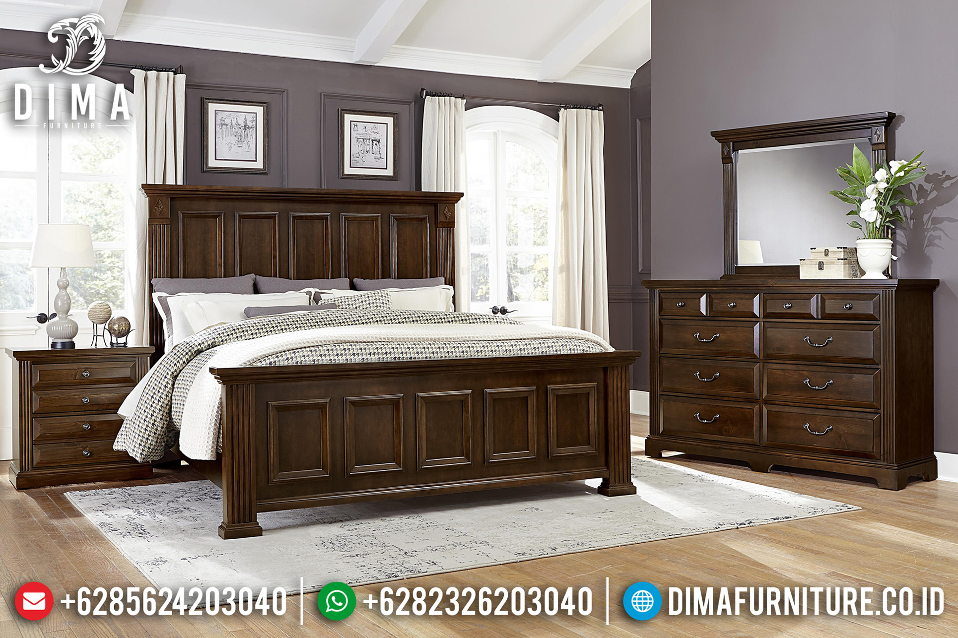 Desain Kamar Set Klasik Jati Natural New Design Interior Inspiration BT-0674
