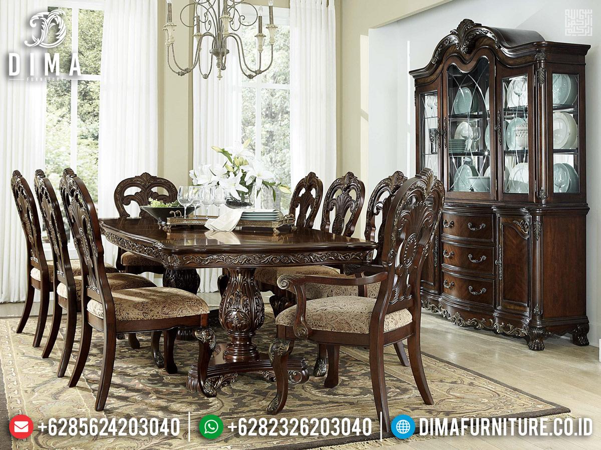 Jual Meja Makan Minimalis Jati Set Kursi Makan Ukiran Furniture Jepara BT-0681
