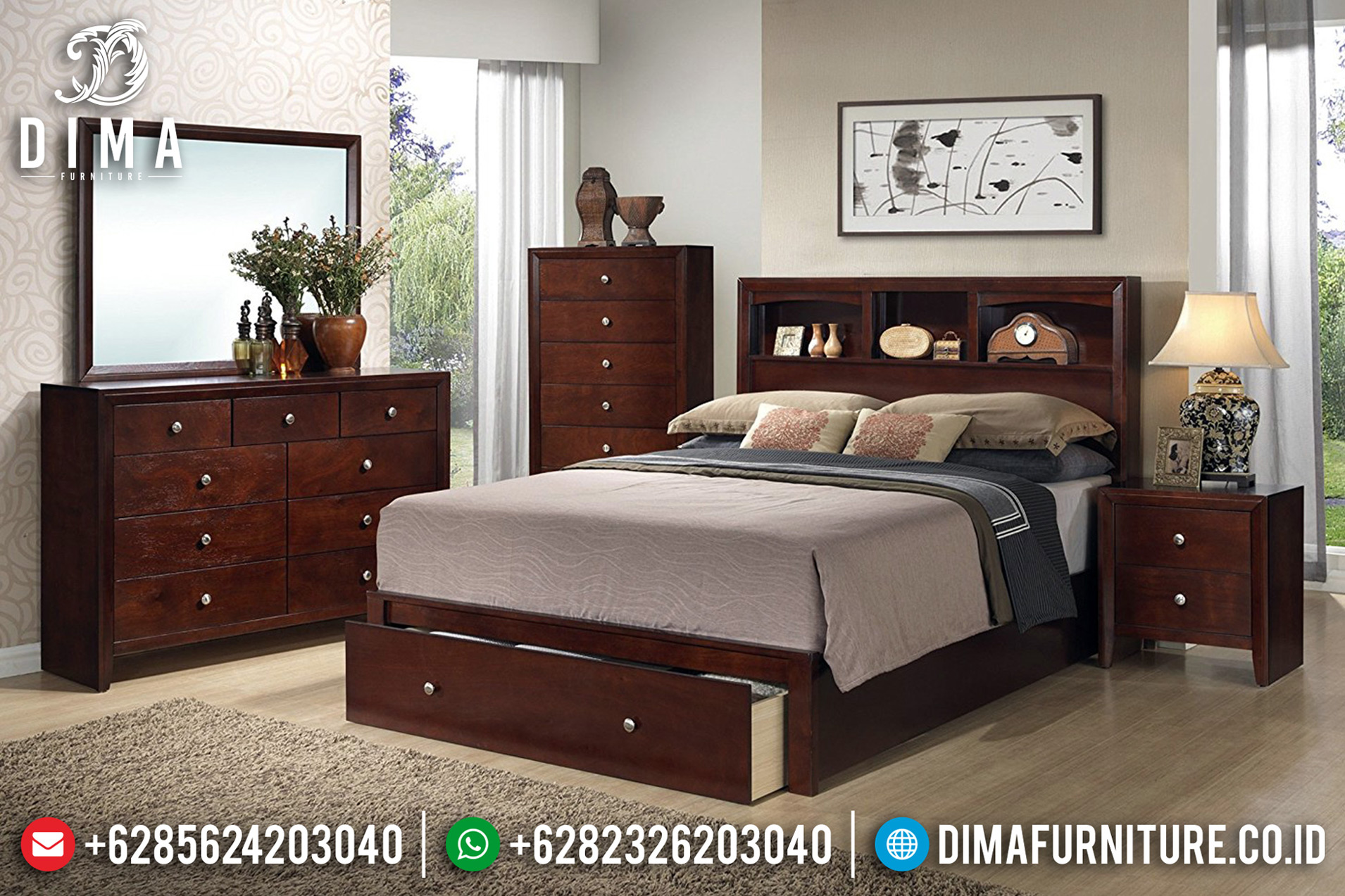Kamar Set Klasik Jati Naturarl Model Laci New Desain Luxury Classic BT-0672