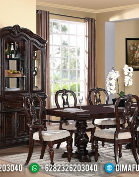 Meja Makan Jati Klasik Natural Best Seller Furniture Jepara BT-0691