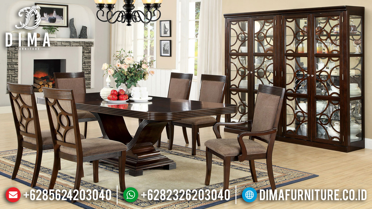 Meja Makan Minimalis Klasik Jati Natural Antique Solid Wood Jepara BT-0667