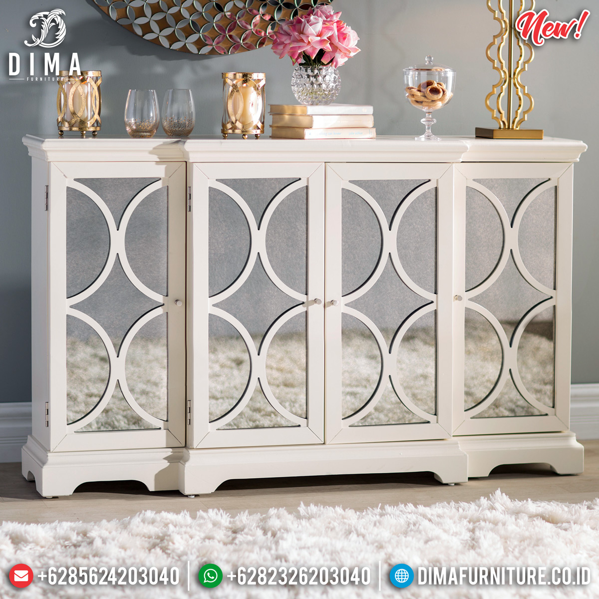 New Desain Meja Konsul Minimalis Kaca Solid Wood Guaranteed BT-0718