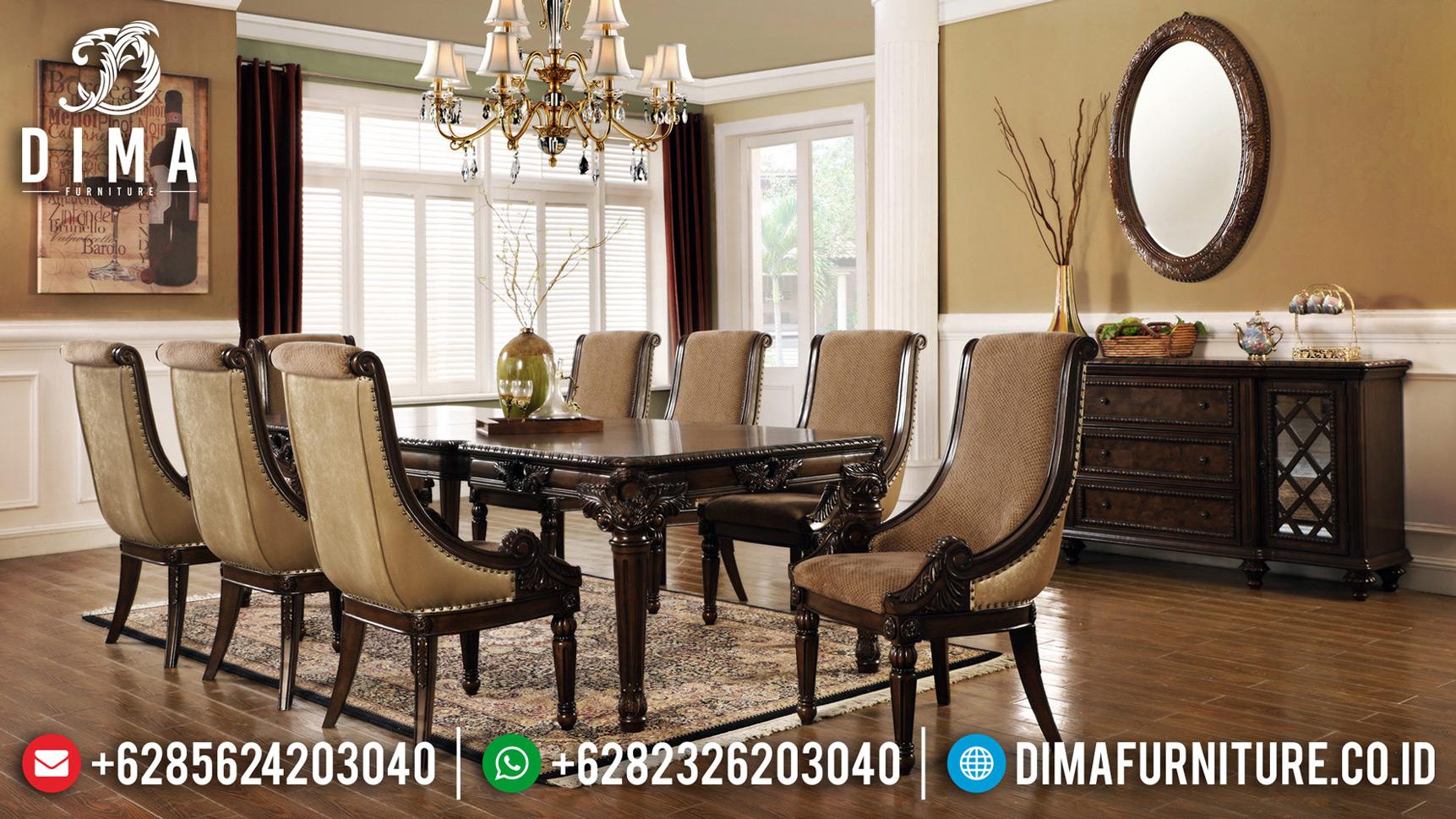 New Set Meja Makan Minimalis Jati Classic Luxury Carving Furniture Jepara BT-0669