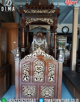 Big Sale Mimbar Masjid Kayu Jati Model Kubah Natural Luxury Carving BT-0744