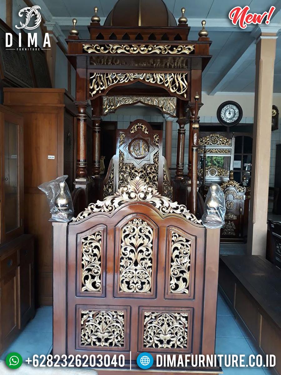 Big Sale Mimbar Masjid Kayu Jati Model Kubah Natural Luxury Carving BT-0744