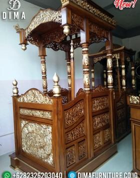 Get Discount Mimbar Masjid Jepara Ukiran Kaligrafi Luxury Golden Gloss Color BT-0753