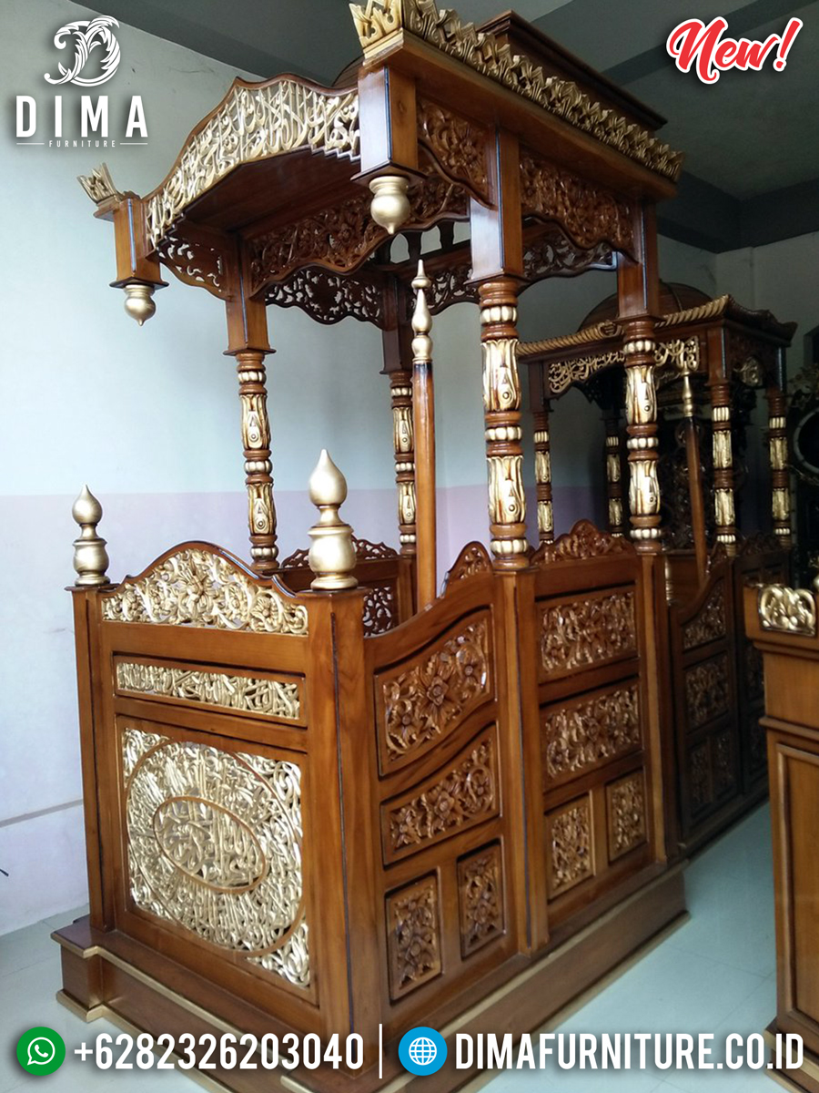 Get Discount Mimbar Masjid Jepara Ukiran Kaligrafi Luxury Golden Gloss Color BT-0753