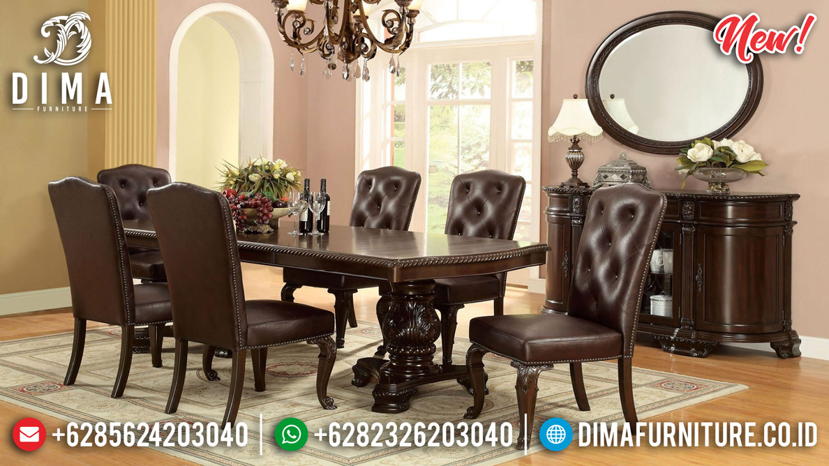 Get Sale Meja Makan Kayu Jati Natural Klasik Perhutani Epic Design BT-0802