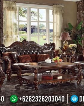 Glamorous Set Sofa Tamu Mewah Jati Natural Salak Brown Classy Versace BT-0813