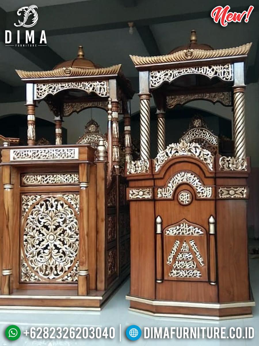 Harga Mimbar Kubah Jati Ukiran Kaligrafi Luxury Golden Classy Natural BT-0748