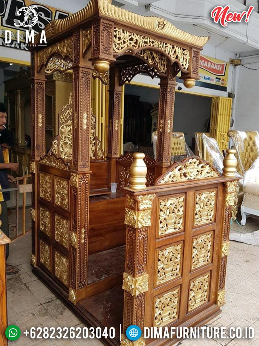 Harga Mimbar Masjid Kubah Jati Natural Luxury Carving Mebel Jepara BT-0741