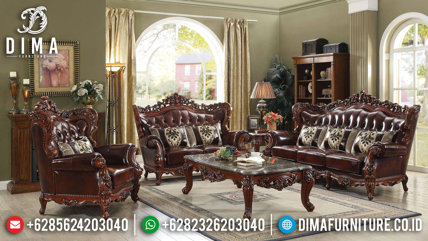Inspiring Desain Sofa Tamu Mewah Jati Natural Salak Dark Brown Classic BT-0789