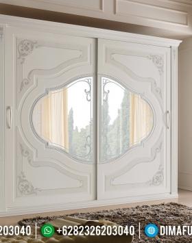 Inspiring Design Lemari Pakaian Sliding Mewah White Duco Ukiran Luxury Jepara BT-0778