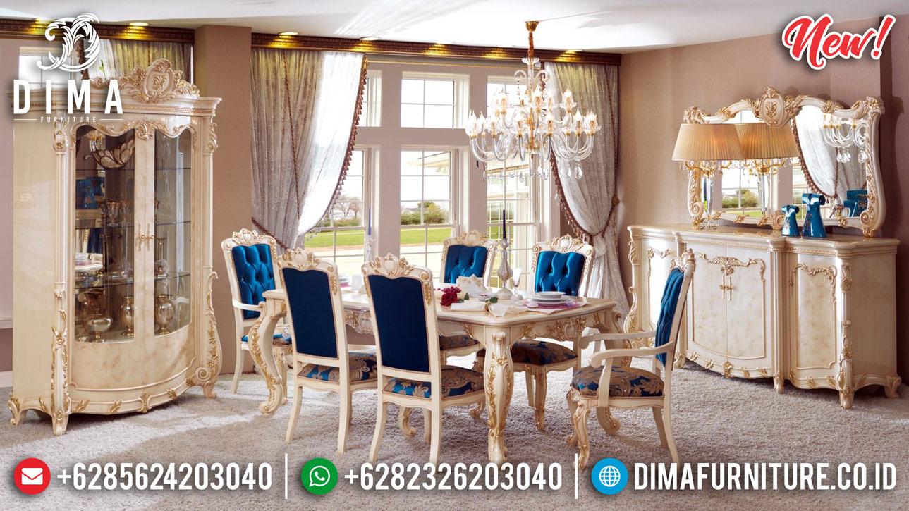 Inspiring Design Meja Makan Mewah Ukiran White Duco Combine Golden Leaf Luxury BT-0815