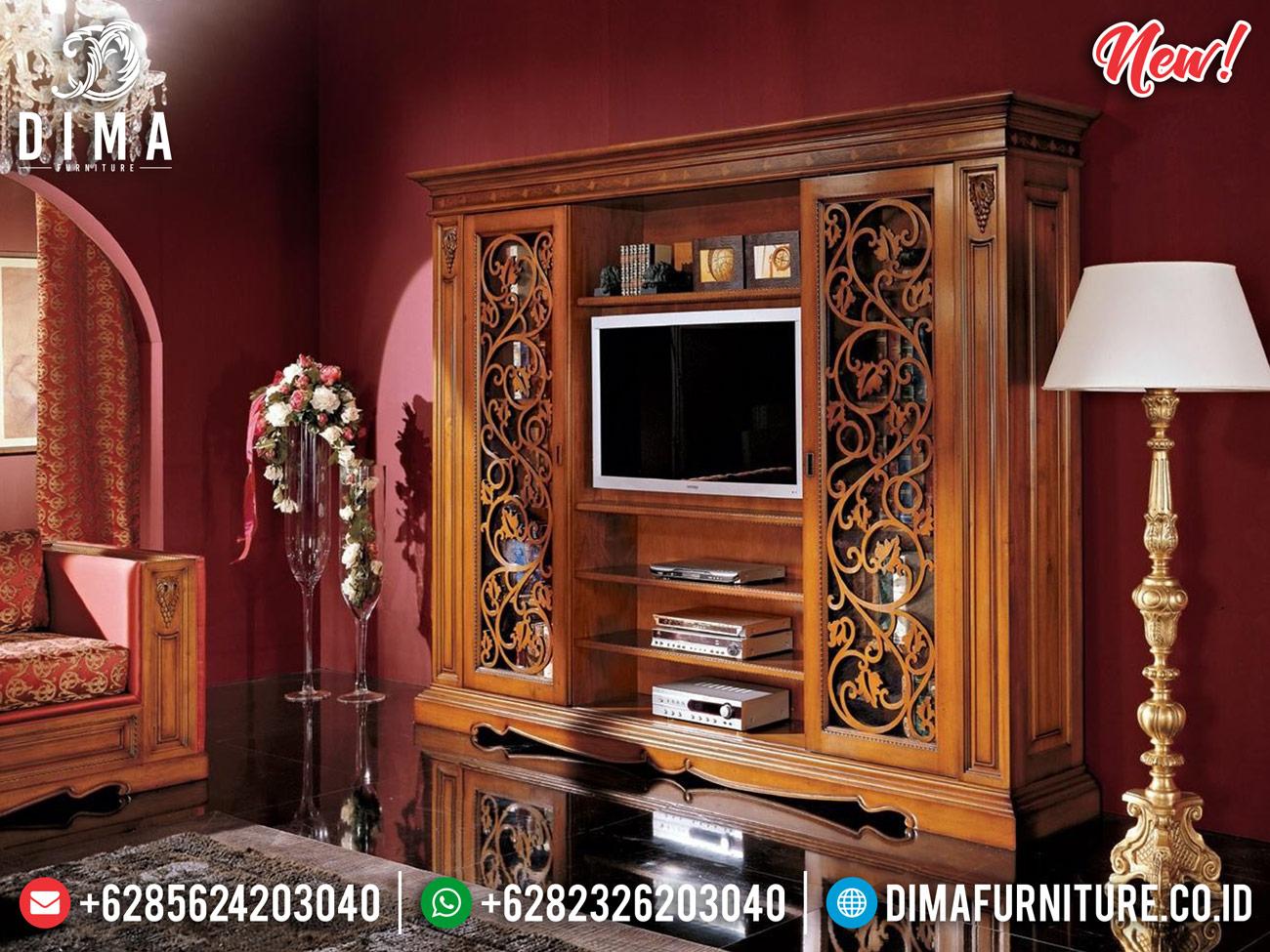 Jual Bufet TV Minimalis Elegant Natural Jati Perhutani Great Wood Quality BT-0769