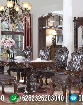 Jual Meja Makan Kayu Jati Natural Dark Brown Luxury Classic Carving BT-0800